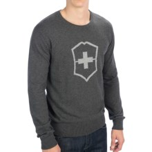 Victorinox Swiss Army Cross & Shield Sweater - Cotton-Wool, Crew Neck (For Men) in Graphite Heather - Closeouts
