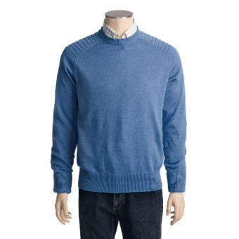 Victorinox Swiss Army Linen-Cotton Sweater - Ottoman Stitching (For Men) in Cascade Blue