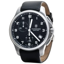 Victorinox Swiss Army Officers Chronograph Watch - Leather Band in Black/Black - Closeouts