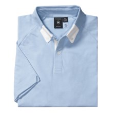Victorinox Swiss Army Polo Shirt - Stretch Cotton Pique, Short Sleeve (For Men) in Aerial Blue/White - Closeouts