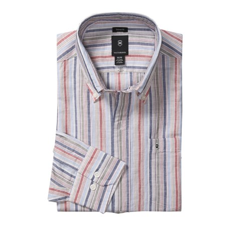Victorinox Swiss Army Stripe Shirt - Linen-Cotton, Long Sleeve (For Men) in Aerial Blue