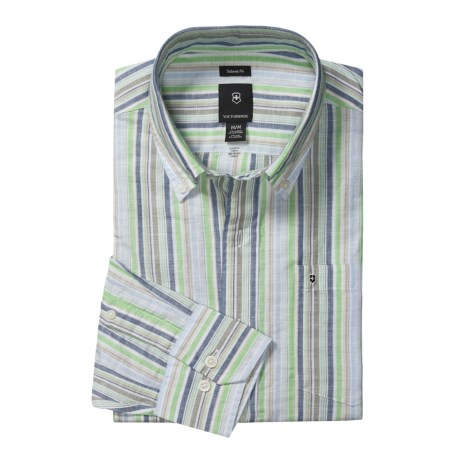 Victorinox Swiss Army Stripe Shirt - Linen-Cotton, Long Sleeve (For Men) in Turf Green