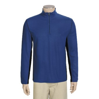 Victorinox Swiss Army Zip Neck Shirt - Long Sleeve (For Men) in Title Blue/Black