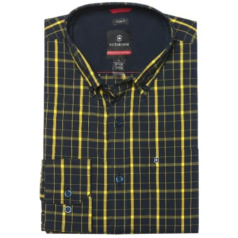 Victorinox Vals Windowpane Shirt - Long Sleeve (For Men) in Canyon Yellow