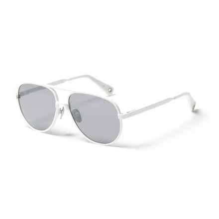 VILEBREQUIN Klaxon Mirror Sunglasses - Glass Lenses (For Men and Women) in Blanc/Silver