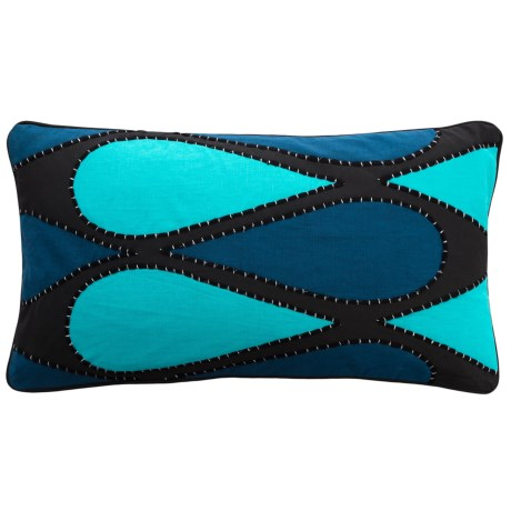 """Villa Home Ginette Contemporary Throw Pillow - 14x26"""", Feathers in Sky Blue"""