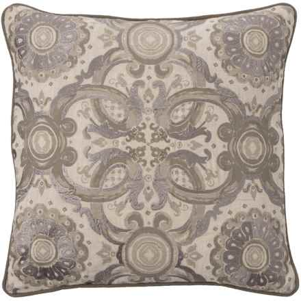 "Villa Home Grandeur Medallion Throw Pillow - 18x18"", Feathers in Taupe - Closeouts"
