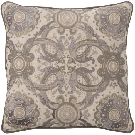 """Villa Home Grandeur Medallion Throw Pillow - 18x18"""", Feathers in Taupe"""