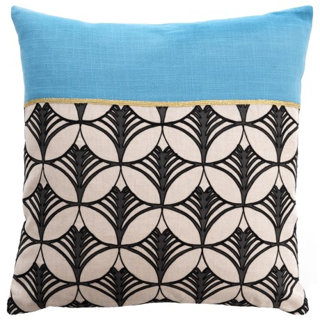 "Villa Home Lexi Contemporary Throw Pillow - 18x18"", Feathers in Blue"