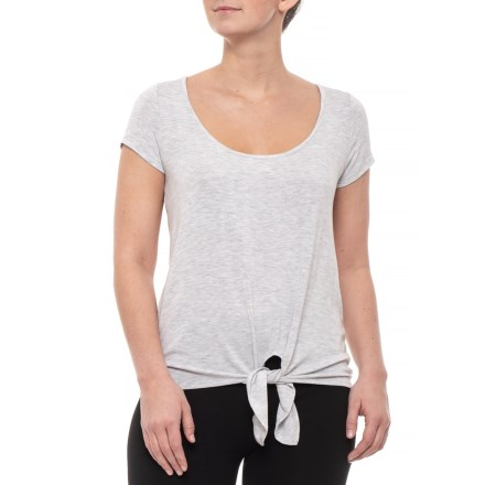 3a8b606227787 Hacci Tie Front T-Shirt - Short Sleeve (For Women) in Light Heather