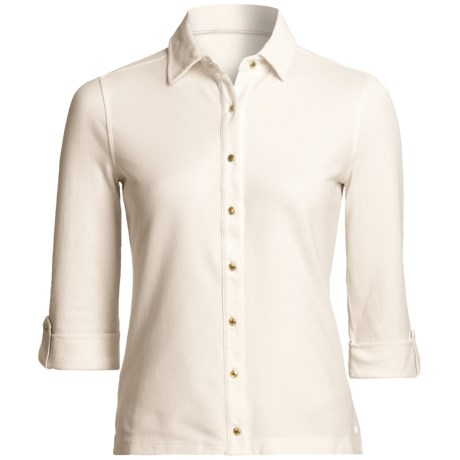 Vineyard Vines Cay Shirt - Pima Cotton, 3/4 Sleeve (For Women) in Vanilla