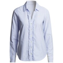 Vineyard Vines Striped Ruffled Oxford Shirt - Long Sleeve (For Women) in Club Blue - Closeouts