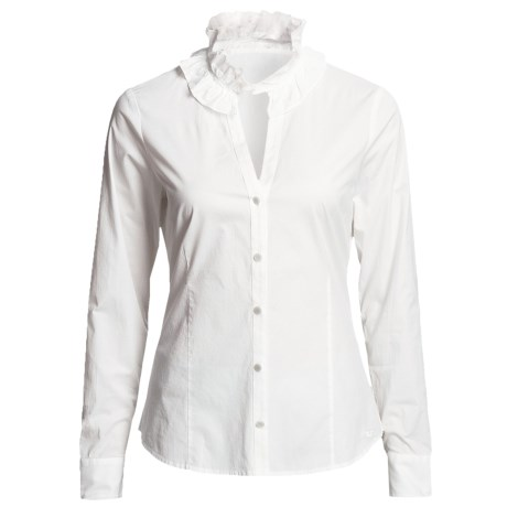 Vineyard Vines Victoria Ruffle Shirt - Long Sleeve (For Women) in White Cap