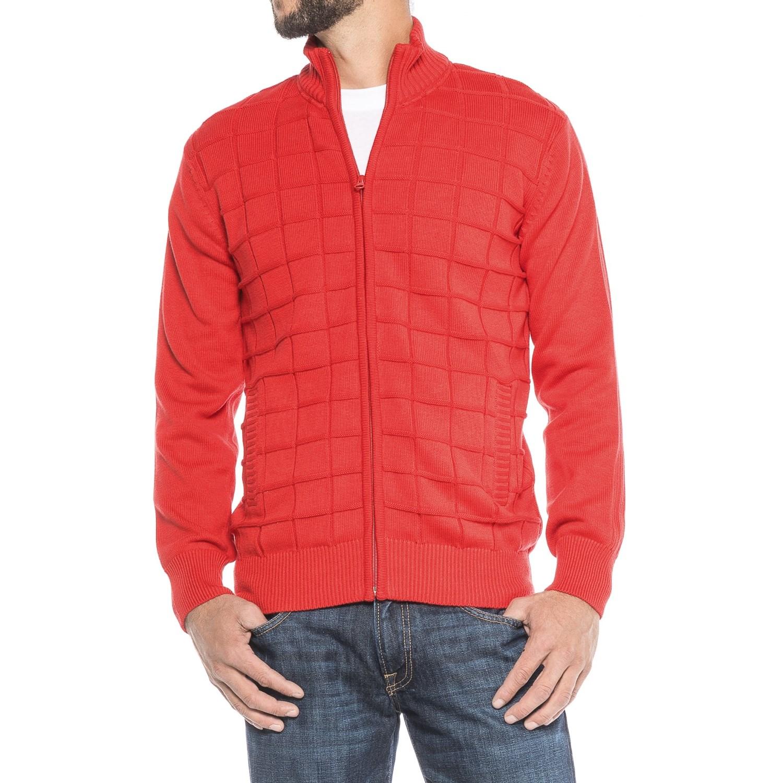Vintage 1946 Block Knit Cardigan Sweater (For Men) - Save 66%