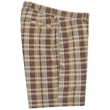 Vintage 1946 Cotton Plaid Shorts (For Men) in Brown