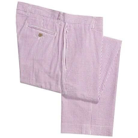 Vintage 1946 Cotton Seersucker Pants - Flat Front (For Men) in Burgundy/White
