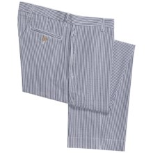 Vintage 1946 Cotton Seersucker Pants - Flat Front (For Men) in Charcoal/White - Closeouts