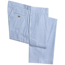 Vintage 1946 Cotton Seersucker Pants - Flat Front (For Men) in Light Blue/White