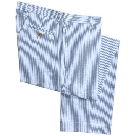 Vintage 1946 Cotton Seersucker Pants - Flat Front (For Men) in Light Blue/White