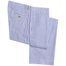 Vintage 1946 Cotton Seersucker Pants - Flat Front (For Men) in Navy/White - Closeouts