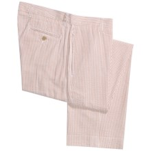 Vintage 1946 Cotton Seersucker Pants - Flat Front (For Men) in Tan/White - Closeouts