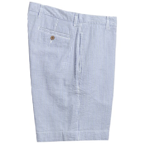 Vintage 1946 Cotton Seersucker Shorts - Flat Front (For Men) in Light Blue/White