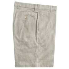 Vintage 1946 Cotton Seersucker Shorts - Flat Front (For Men) in Navy/Cream - Closeouts