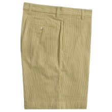 Vintage 1946 Cotton Seersucker Shorts - Flat Front (For Men) in Tabacco/Cream - Closeouts