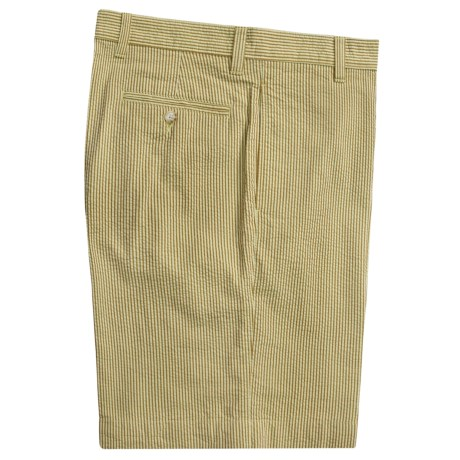 Vintage 1946 Cotton Seersucker Shorts - Flat Front (For Men) in Tabacco/Cream