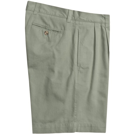 Vintage 1946 Cotton Twill Shorts - Pleated (For Men) in Sage