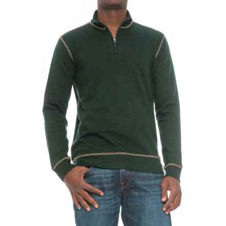 Vintage 1946 French Terry Slub Sweater - Zip Neck (For Men) in Hunter - Closeouts