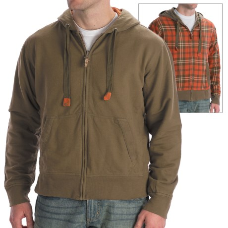 Vintage 1946 Hoodie Sweatshirt - Reversible (For Men) in Olive/Tan Plaid