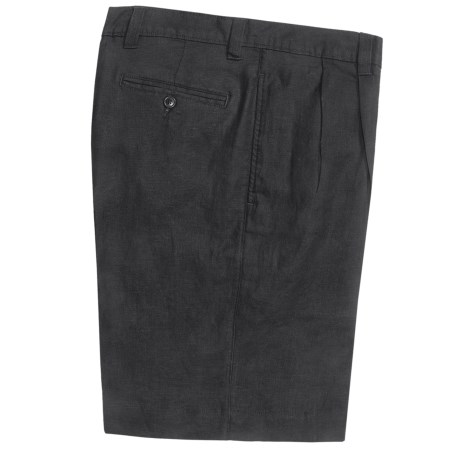 Vintage 1946 Linen Shorts - Pleated (For Men) in Black