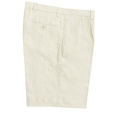 Vintage 1946 Linen Shorts - Pleated (For Men) in Cream