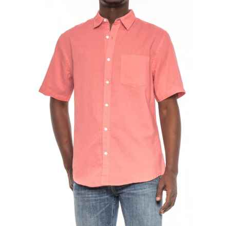Vintage 1946 Linen Solid Shirt - Short Sleeve (For Men) in Coral - Overstock