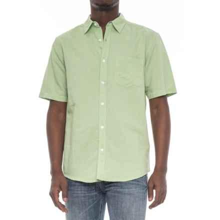 Vintage 1946 Linen Solid Shirt - Short Sleeve (For Men) in Green - Overstock