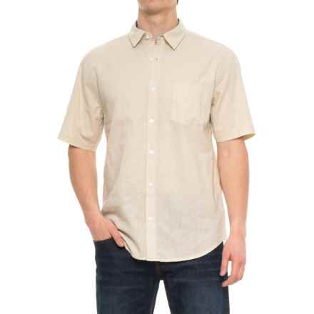 Vintage 1946 Linen Solid Shirt - Short Sleeve (For Men) in Natural - Overstock