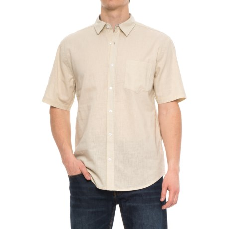 Vintage 1946 Linen Solid Shirt - Short Sleeve (For Men) in Natural