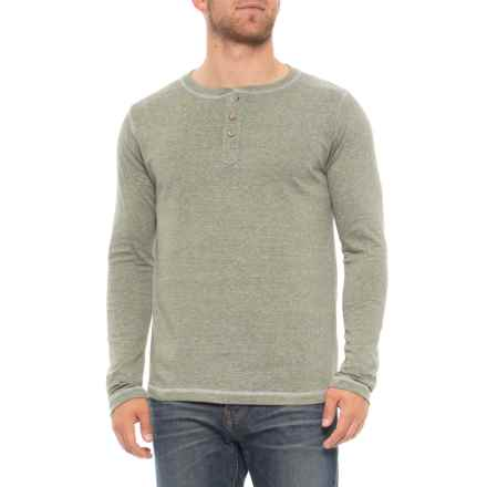 Vintage 1946 Microstripe Henley Shirt - Long Sleeve (For Men) in Green - Overstock