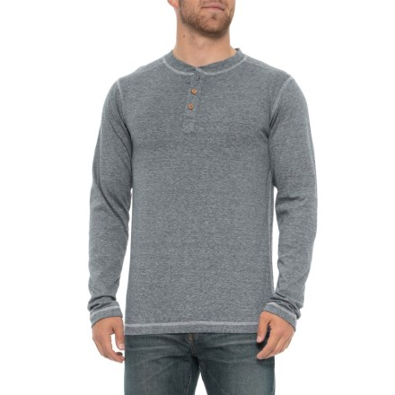 c763a779442372 Vintage 1946 Microstripe Henley Shirt - Long Sleeve (For Men) in Navy -  Overstock