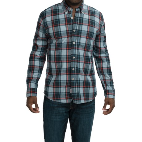 Vintage 1946 Retro Plaid Cotton Shirt Long Sleeve (For Men)