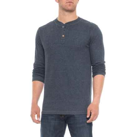 Vintage 1946 Ribbed Heathered Henley Shirt - Long Sleeve (For Men) in Dark Navy - Overstock