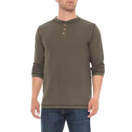 Vintage 1946 Ribbed Heathered Henley Shirt - Long Sleeve (For Men) in Dark Olive - Overstock