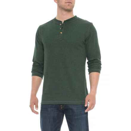 Vintage 1946 Ribbed Heathered Henley Shirt - Long Sleeve (For Men) in Hunter - Overstock