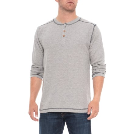 3c1749ed666 Vintage 1946 Ribbed Heathered Henley Shirt - Long Sleeve (For Men) in Light  Grey