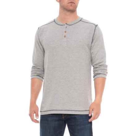 Vintage 1946 Ribbed Heathered Henley Shirt - Long Sleeve (For Men) in Light Grey - Overstock