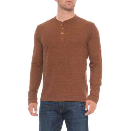 Vintage 1946 Ribbed Heathered Henley Shirt - Long Sleeve (For Men) in Texas Orange - Overstock