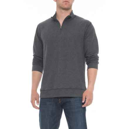 Vintage 1946 Ribbed Heathered Shirt - Zip Neck, Long Sleeve (For Men) in Charcoal Twist - Overstock