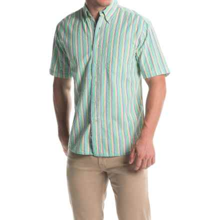 Vintage 1946 Seersucker Shirt - Button Front, Short Sleeve (For Men) in Light Green/Navy - Closeouts