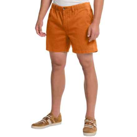 Vintage 1946 Snappers Shorts - Cotton, Elastic Waist (For Men) in Texas Orange - Closeouts
